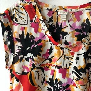 J. Crew Abstract Floral Silky T-shirt